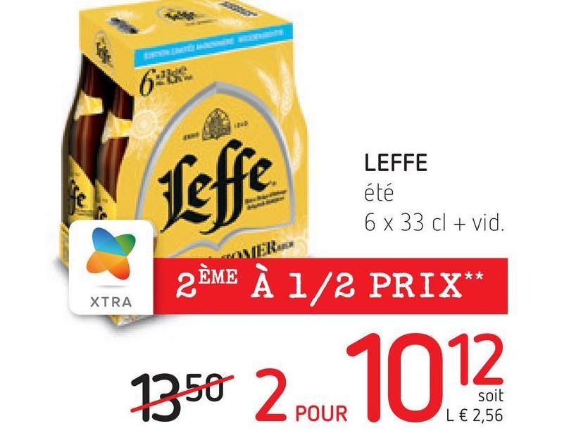Leffe LEFFE été 6 x 33 cl + vid. 2ÈME À 1/2 PRIX XTRA soit L € 2,56