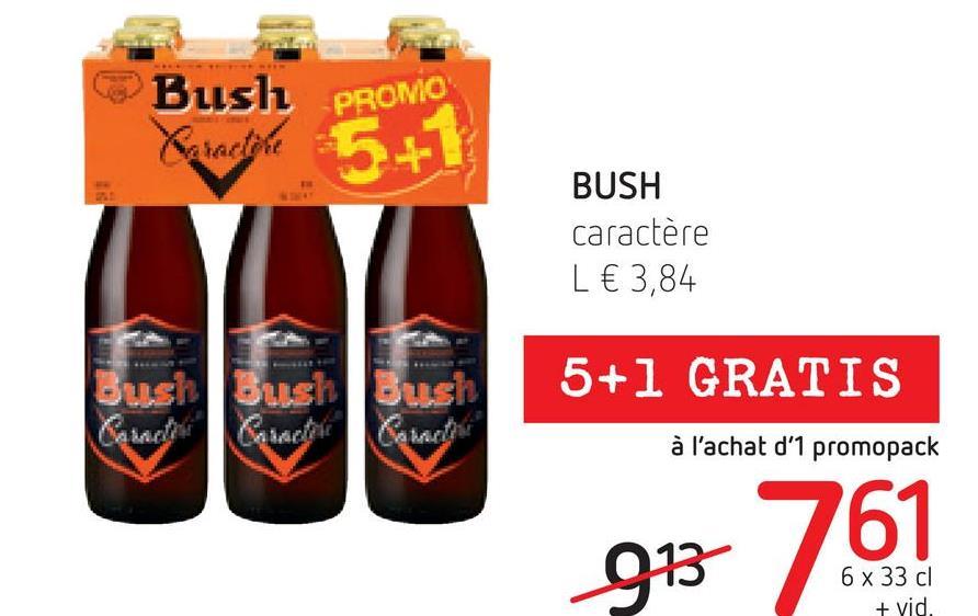 Bush PROMO Besactyle 5+1 BUSH caractère L € 3,84 5+1 GRATIS Bush Bush Bush Camac Care Coming à l'achat d'1 promopack 6 x 33 cl + vid.