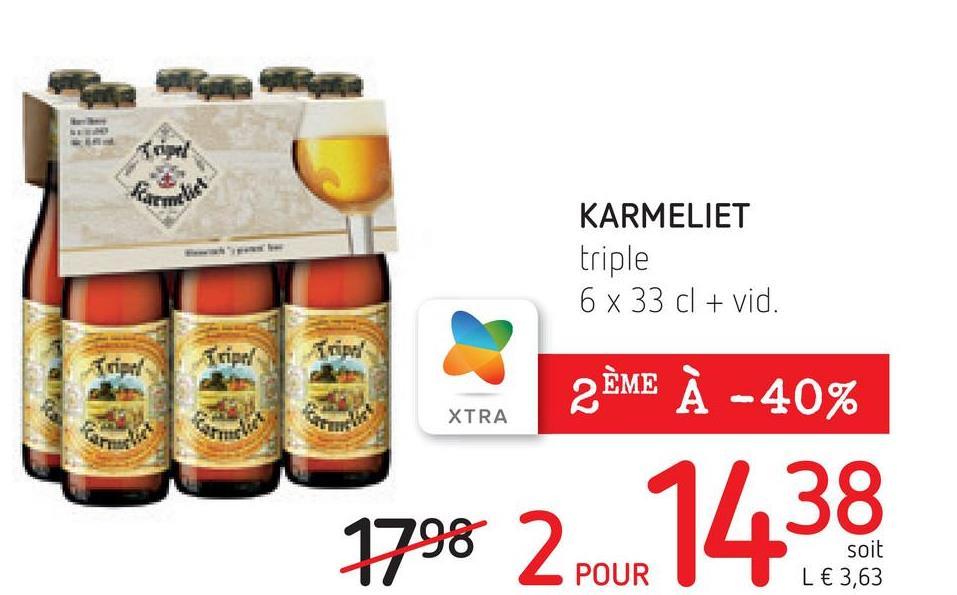 Tripod KARMELIET triple 6 x 33 cl + vid. 2 ÈME À -40% XTRA soit L € 3,63