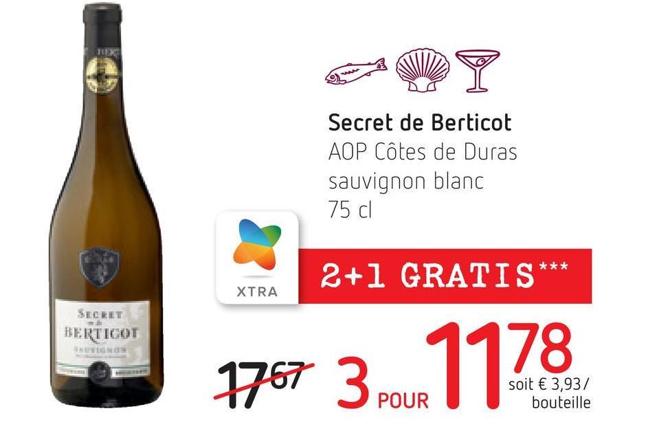 MY Secret de Berticot AOP Côtes de Duras sauvignon blanc 75 cl 2+1 GRATIS *** XTRA SECRET BERTIGOT GNO 1767 31178 soit € 3,937 bouteille