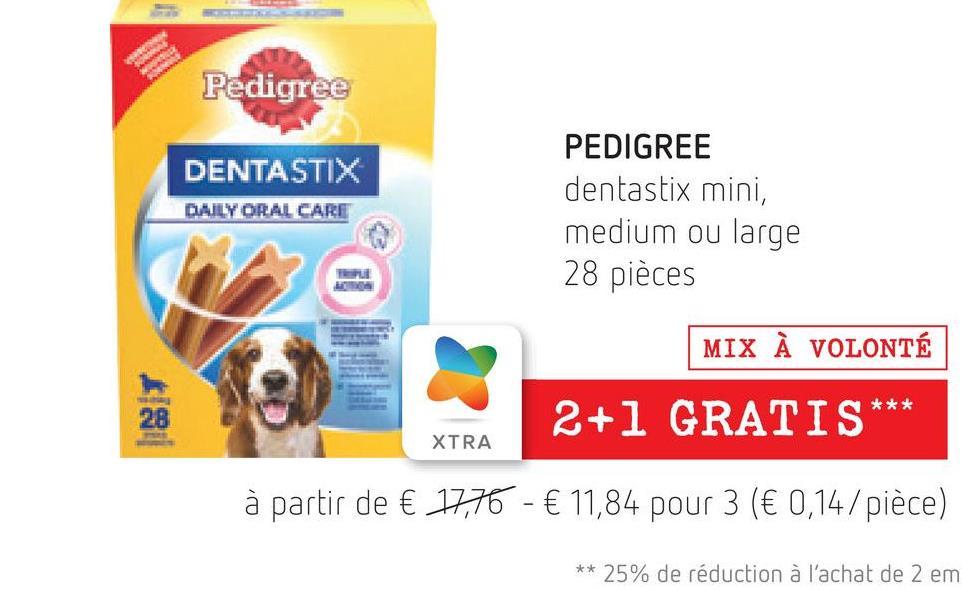 Pedigree DENTASTIX DAILY ORAL CARE PEDIGREE dentastix mini, medium ou large 28 pièces TU MIX À VOLONTÉ *** 28 2+1 GRATIS XTRA à partir de € 17,76 - € 11,84 pour 3 (€ 0,14/pièce) ** 25% de réduction à l'achat de 2 em