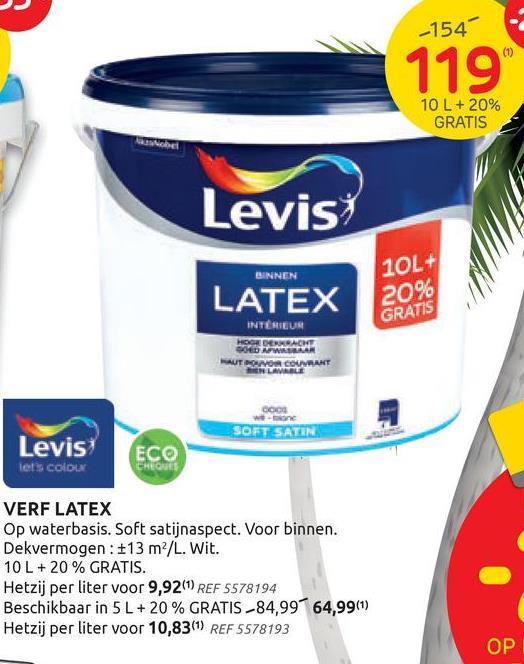Levis verf Latex wit zijdeglans 12L Deze zijdeglanzende Levis verf Latex in de tint wit 12 L is een watergedragen verf voor binnenmuren en plafonds. De verf is geschikt voor gebruik op pleisterwerk, gipskartonplaat, cementbezetting, baksteen, behangpapier, beton, cellenbeton, betonblokken, glasvezel en reeds geverfde oppervlakken.<br>Ze is eenvoudig aan te brengen, spat niet en geeft geen geur af. Deze verf is bovendien vrij van solventen en draagt het Europese Ecolabel (BE/044/003).