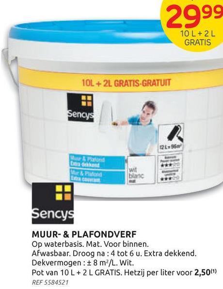 Peinture Sencys mur & plafond extra couvrant mat blanc 12L La peinture Mur& Plafond extra couvrante de Sencys est une peinture pour murs et plafonds à base d'eau, de qualité standard, qui permet d'obtenir un bon résultat à un prix avantageux. La peinture blanche est idéale pour la rénovation rapide de diverses pièces de vie. Elle peut être utilisée sur la maçonnerie, le béton, le ciment, le plâtre et les anciennes couches de peinture à base d'eau. La peinture est facile à appliquer, possède un rendement élevé et est respirante.:<br><br>:Bien mélanger la peinture avant utilisation et l'appliquer à l'aide d'un rouleau, d'un pinceau ou d'un pistolet. Appliquez la peinture murale lentement, en croisant les passages afin d'obtenir un résultat optimal. Nettoyez votre matériel immédiatement après utilisation.