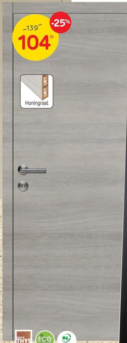 Bloc-porte promokit Thys 'S69' gris alpin 83 cm Ce bloc-porte promokit 'S69' de Thys est un modèle prêt-à-poser complet de 83 cm de large. Il comprend la feuille de porte au décor gris alpin, l'ébrasement de 17 cm, le chambranle, les listels, la serrure Litto standard et 3 charnières à billes. Seule la poignée est vendue séparément afin que vous puissiez choisir celle qui répond le mieux à vos envies !