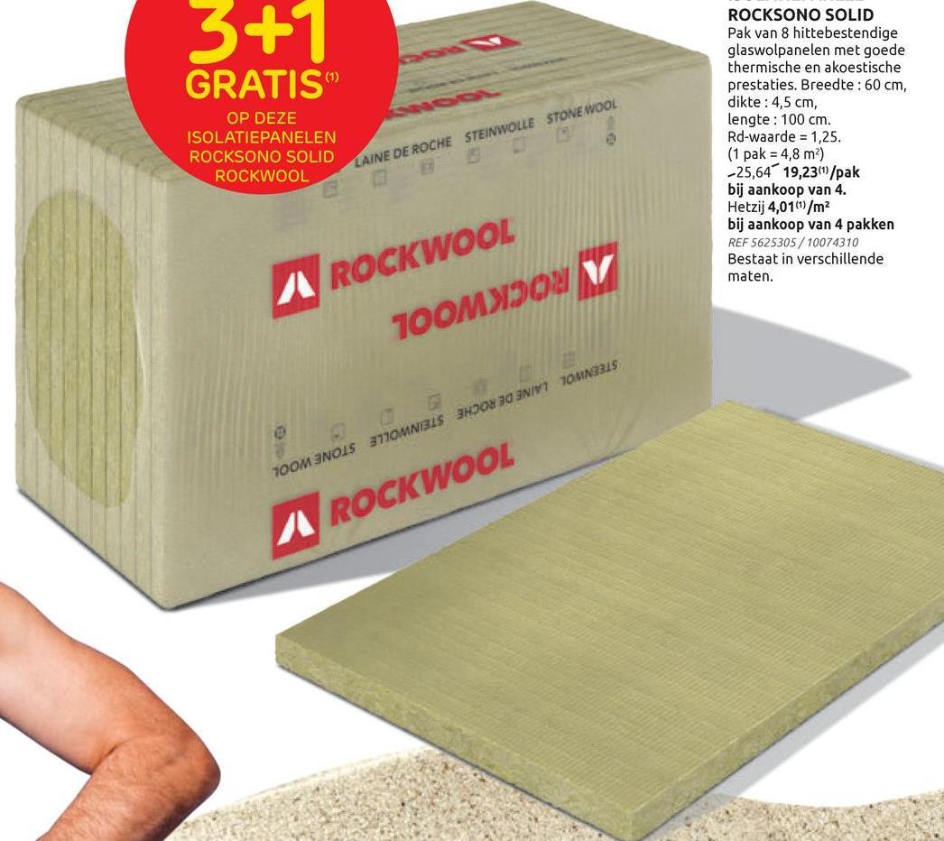 Panneau d'isolation Rockwool 100 x 60 x 4,5 cm - 8 pcs Ces panneaux d'isolation Rockwool non revêtus conviennent pour une utilisation polyvalente (toiture, sol cloison). Leur propriétés hydrofuges sont accrues grâce à un traitement spécial. Réduction sonore accrue jusqu'à 50%.