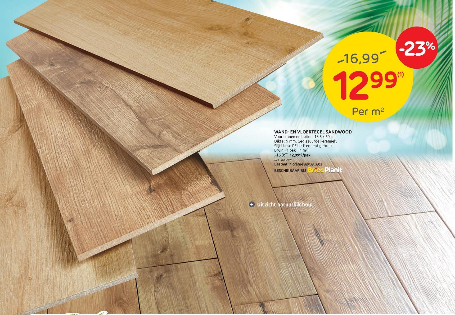 Carrelage sol Sandwood crème 18,5x60cm Vous cherchez un beau revêtement de sol qui correspond à votre goût de la nature et à votre intérieur chaleureux? Ne cherchez plus! Grâce au carrelage sol Sandwood avec ces carreaux céramiques à l'aspect bois de couleur crème, vous pouvez à peine voir la différence avec du vrai bois. Les carreaux ont une taille de 18,5 par 60 cm, avec une épaisseur de 9 mm et un dallage d'une superficie de 1 m². Le carrelage est doté d'une finition rabotée et peut être placé à l'intérieur tout comme à l'extérieur.