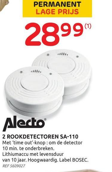 Alecto rookmelder met time-out knop 'SA-120' 9 V - 2 stuks Een rookmelder is een klein apparaatje dat brandveiligheid oplevert. Als de rookmelder rook detecteert geeft hij een luid alarmsignaal af van 85 decibel. Een niet te negeren geluidsniveau, het is het beginniveau waarvoor artsen oordopjes adviseren.::Het grote voordeel van de 'SA-120' van Alecto wordt verkocht met een sterke batterij die een levensduur heeft van maar liefst 10 jaar. Eenmaal geïnstalleerd, een eenvoudig klusje, heeft u er voor lange tijd geen omkijken naar. De 'SA-120' biedt: hoge kwaliteit, hij voldoet aan EN14604:2005/AC:2008 en is BOSEC gecertificeerd. Conformiteit en kwaliteit van de producten gegarandeerd.::Een lange levensduur van 10 jaar dankzij een sterke batterij. Een luid, niet te negeren, alarmsignaal van 85 dB. Set van 2 rookmelders, welke eenvoudig en snel te monteren zijn. Een snelle reactie op langzaam smeulende branden. Ideale bescherming voor in en om het huis óf op vakantie.