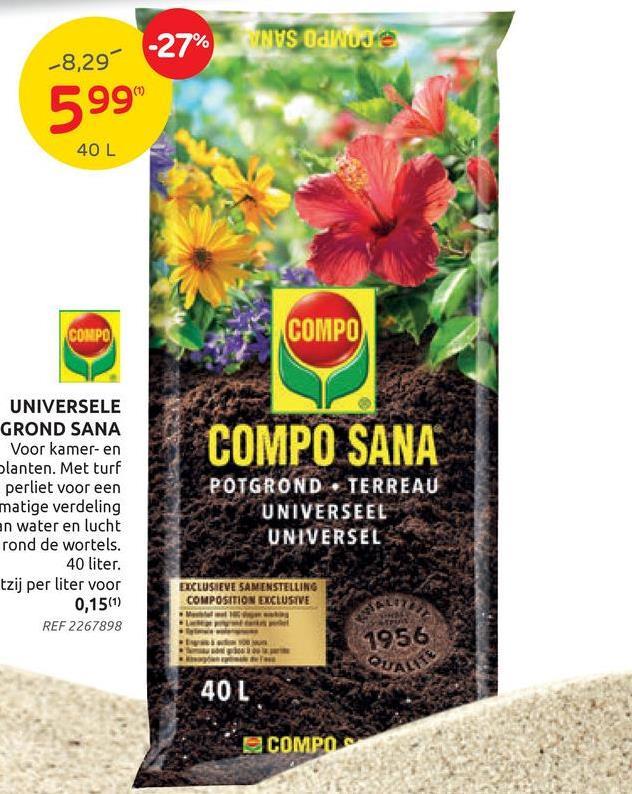 Terreau Universel Compo Sana 40L Le terreau universel Compo de Sana est un terreau de qualité qui convient à tous les types de plantes de jardin, de balcon et d'intérieur. Il assure une croissance forte et saine ainsi qu'une floraison abondante. Le terreau contient un engrais à action directe et longue durée, avec des nutriments assimilables directement par la plante. Les plantes seront visiblement plus fortes et en meilleure santé grâce à un mélange complet de micronutriments. En plus, le substrat contribue à un bon enracinement.