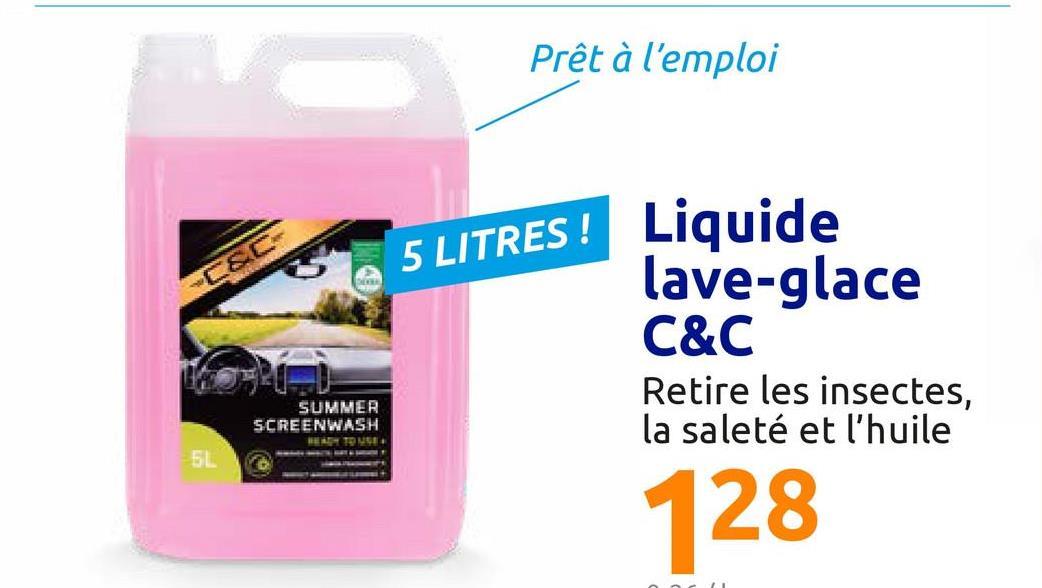 Liquide d'essuie-glace de voiture <ul><li>Prêt à l'emploi</li><li>Au parfum frais de citron</li><li>Pour une utilisation en été</li></ul><br />Ce liquide lave-glace élimine la saleté, la graisse et les restes d'insectes du pare-brise.