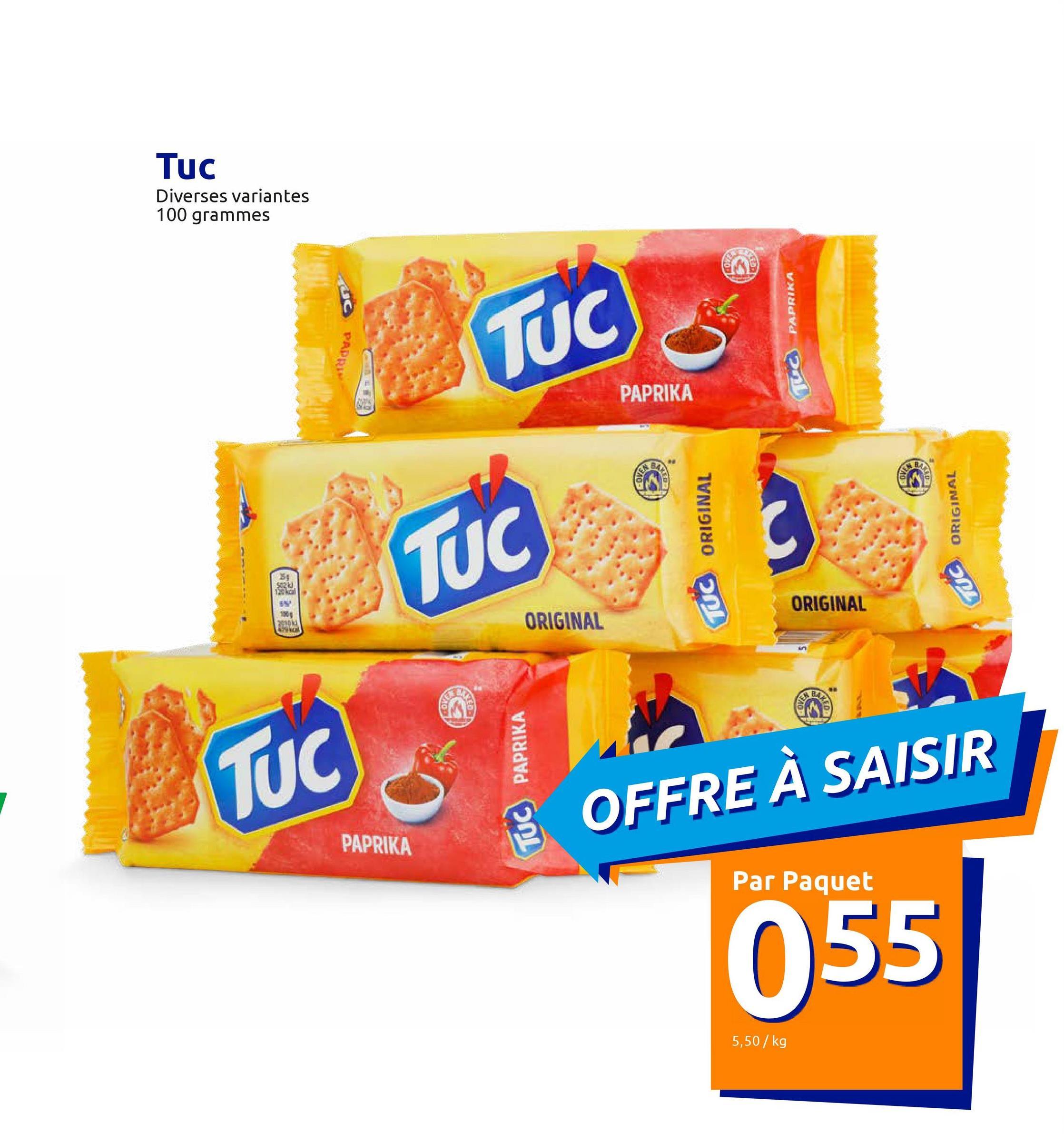 TUC Original <ul><li>Biscuits salés légers</li><li>Cuits au four</li></ul><br />Une petite faim ? Ces biscuits salés sont délicieux comme en-cas ou pour une chouette soirée entre amis, par exemple.