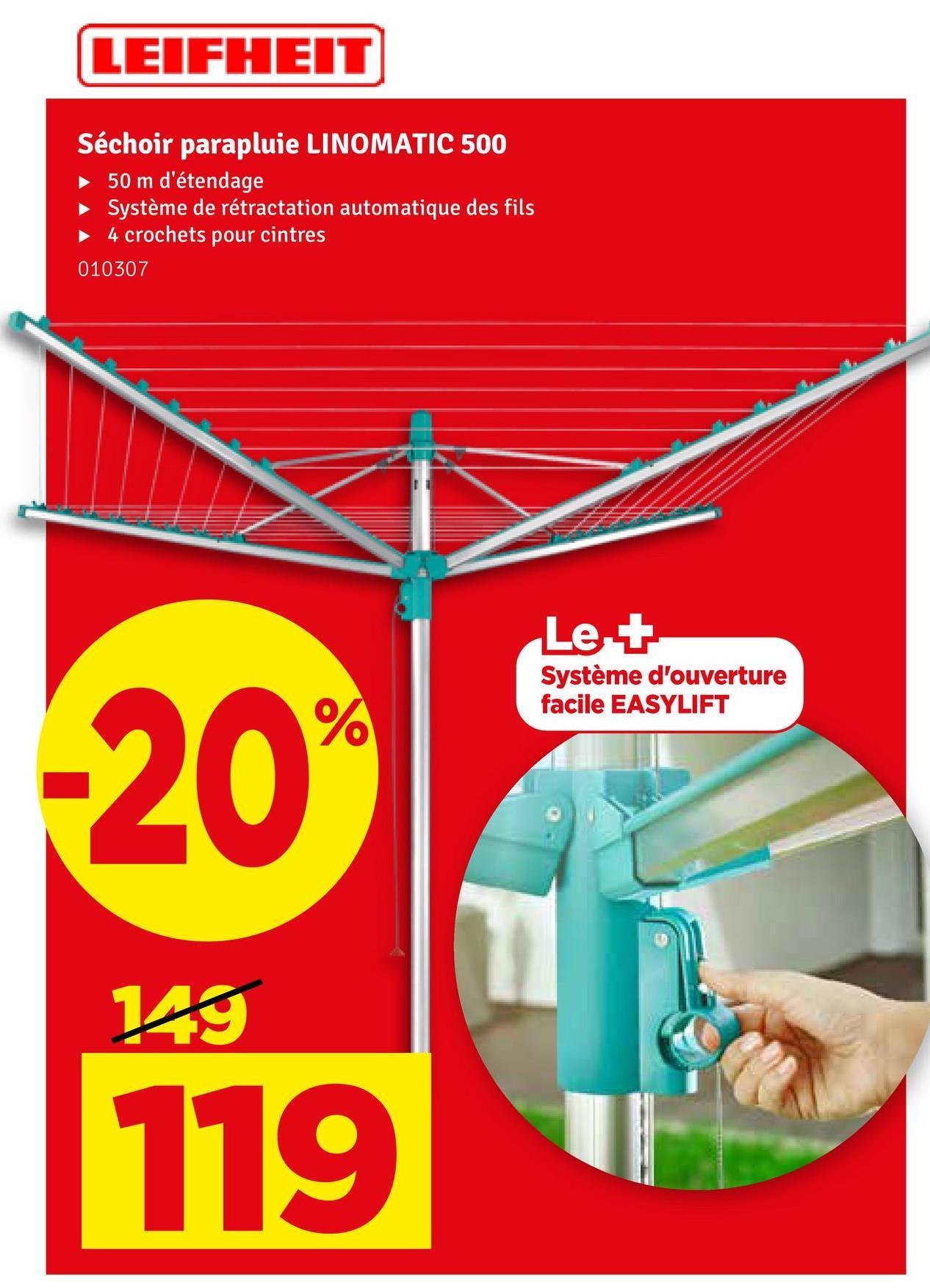 LEIFHEIT Séchoir parapluie LINOMATIC 500 50 m d'étendage Système de rétractation automatique des fils 4 crochets pour cintres 010307 Le + Système d'ouverture facile EASYLIFT -20% 29 119