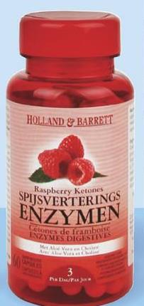 HOLLAND & BARRETT Raspberry Ketones SPIJSVERTERINGS ENZYMEN tones de framboise INZYMES DIGESTIVES LV از ۳۰تا ۴۰ 3 /
