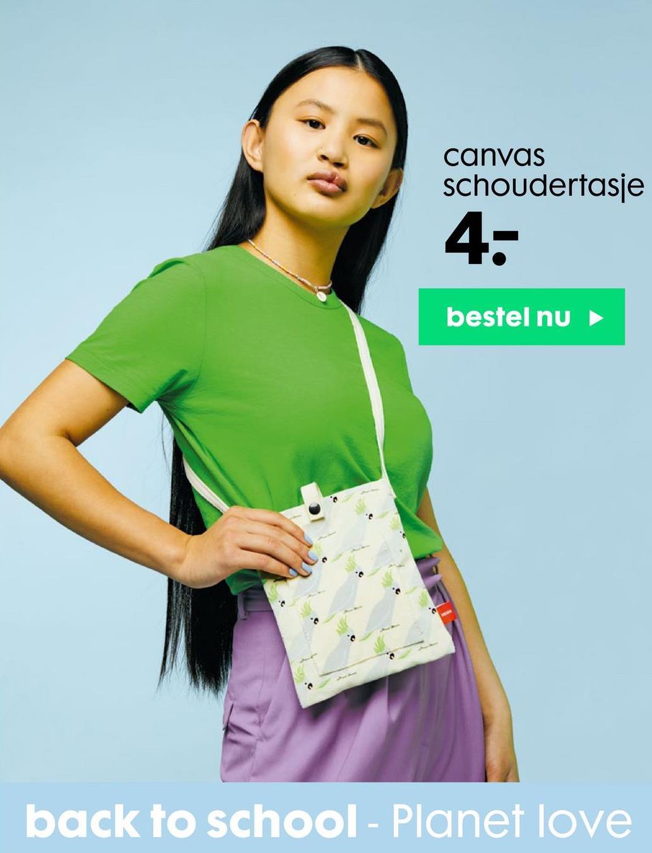 canvas schoudertasje 4. bestel nu back to school - Planet love