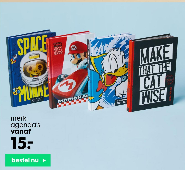 SPACE SCHOOL AGENDA 2021 2022 MAKE THAT THE CAT WISE Chilli NEW Munnt emoji MARIOKAS SCHOOLAGEND 2021-202 merk- agenda's vanaf 15- bestel nu
