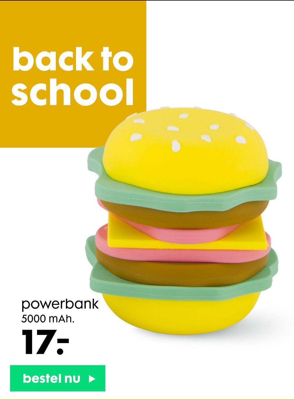 back to school powerbank 5000 mAh. 17: bestel nu