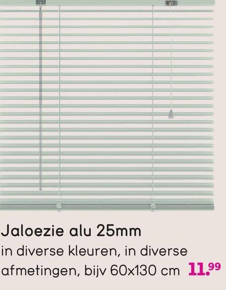 Jaloezie alu 25mm in diverse kleuren, in diverse afmetingen, bijv 60x130 cm 11.99