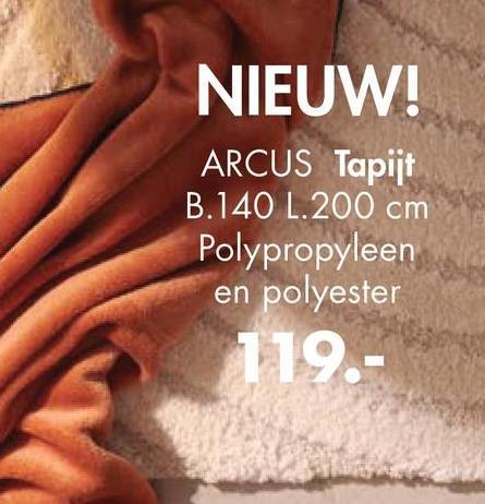 NIEUW! ARCUS Tapijt B.140 L.200 cm Polypropyleen en polyester 119.-