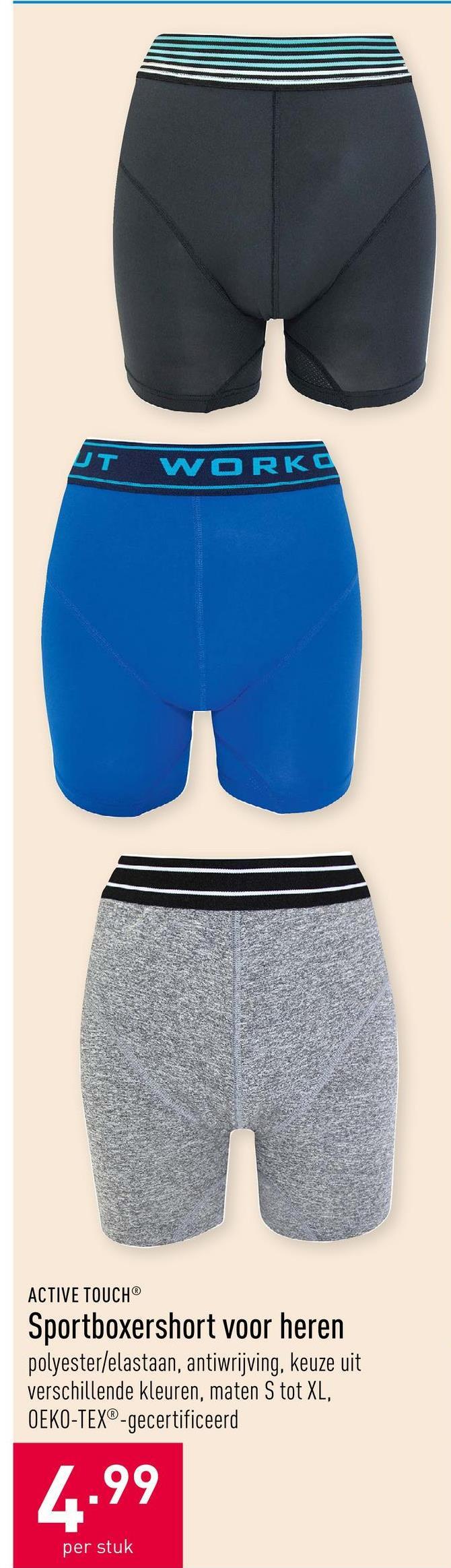 Sportboxershort voor heren polyester/elastaanantiwrijvingkeuze uit verschillende kleurenmaten S tot XLOEKO-TEX®-gecertificeerd