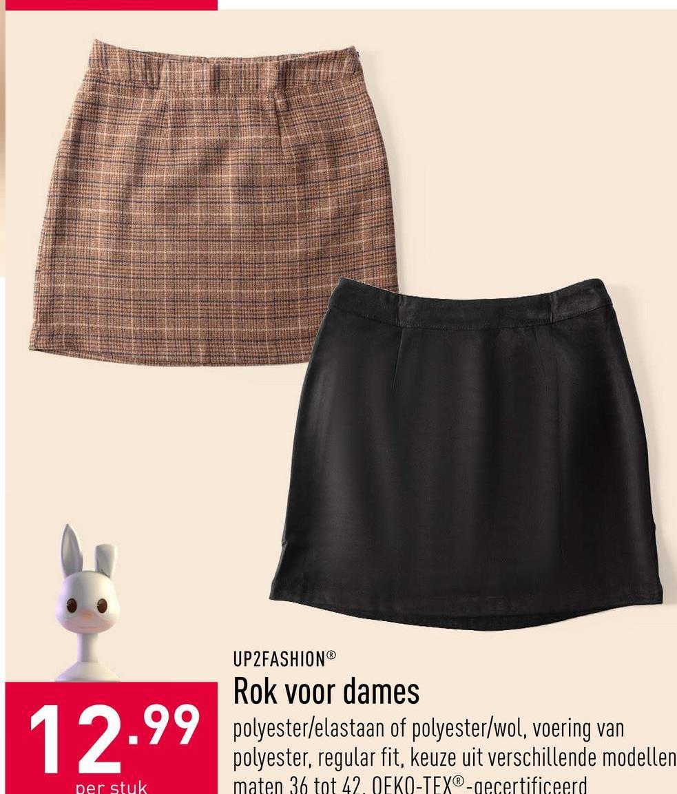 Rok voor dames acryl/polyester/wol/viscose, keuze uit verschillende kleuren, maten 36 tot 42, OEKO-TEX®-gecertificeerd
