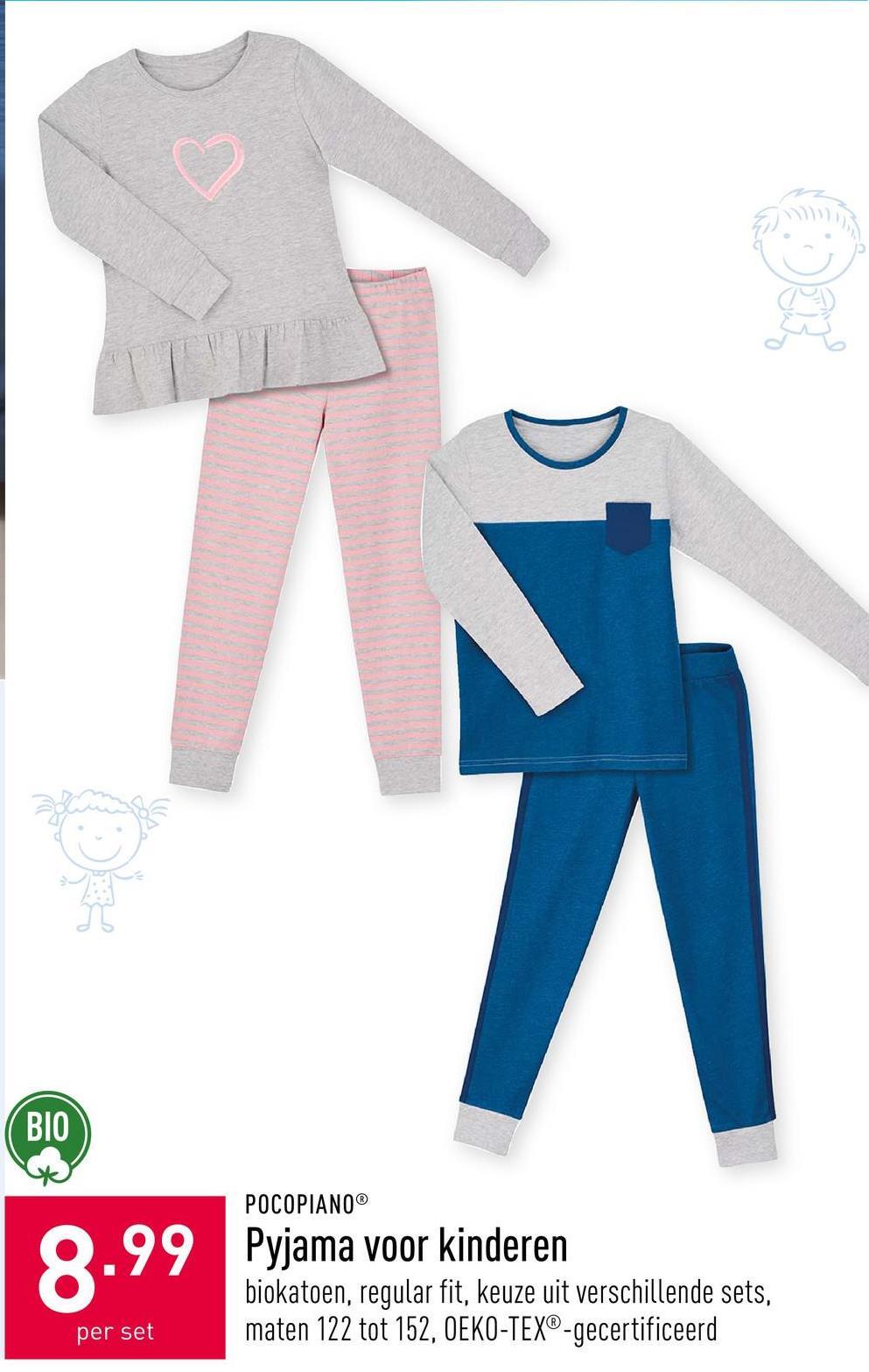 Pyjama voor meisjes katoen (bio), keuze uit verschillende kleuren, maten 122 tot 152