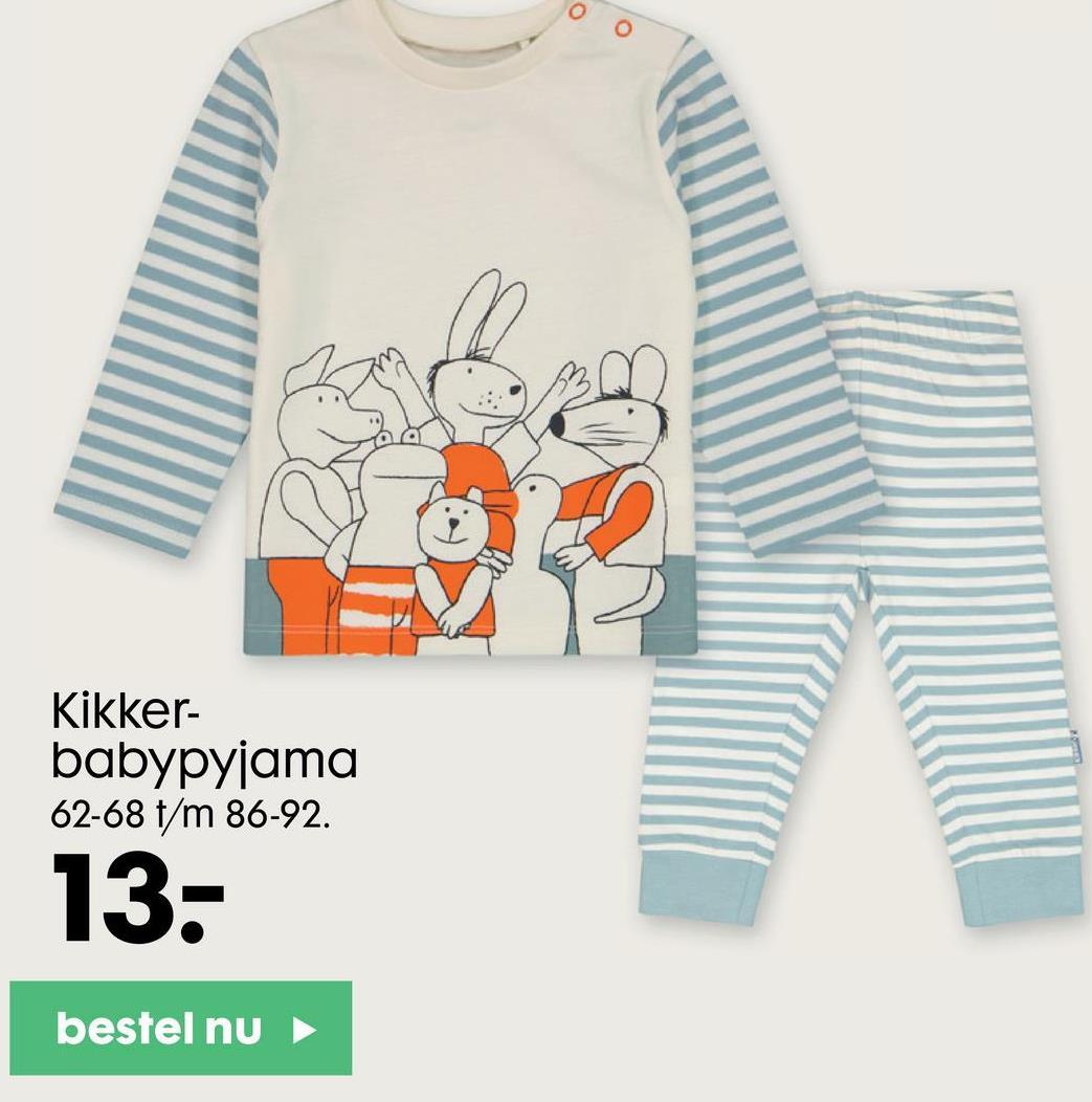 Kikker- babypyjama 62-68 t/m 86-92. 13- bestel nu
