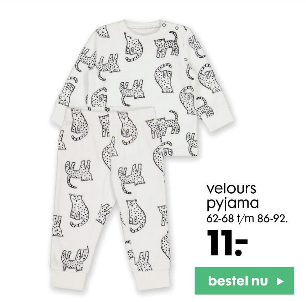 V Velours pyjama 62-68 t/m 86-92. 11- bestel nu