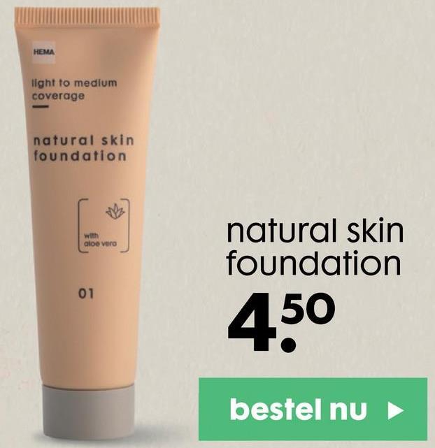 HEMA light to medium coverage natural skin foundation aloe vero natural skin foundation 01 450 bestel nu
