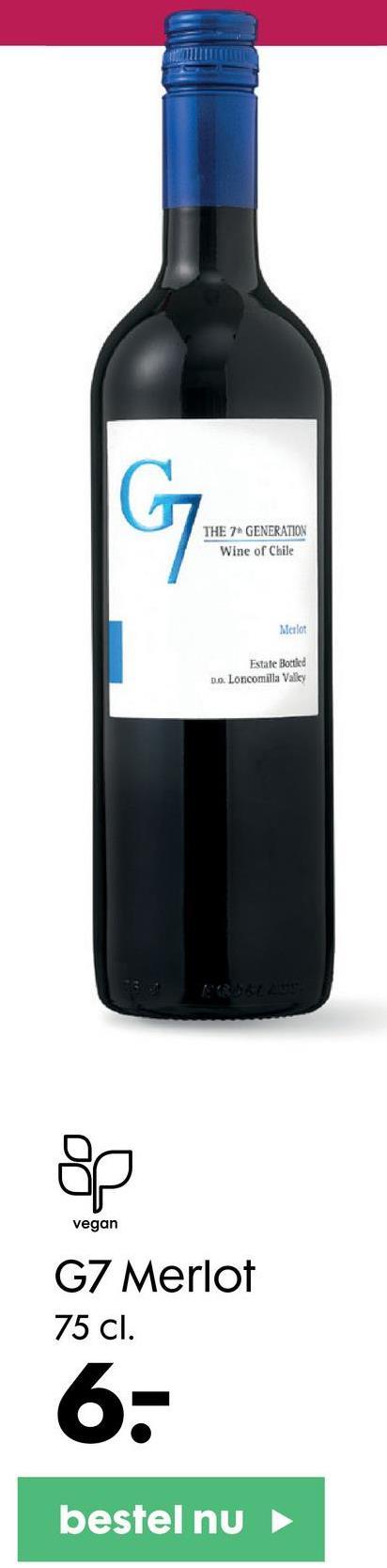 G THE 7 GENERATION Wine of Chile Merlot Estate Bottled Do Loncomilla Valley & 요 vegan G7 Merlot 75 cl. 6- bestel nu