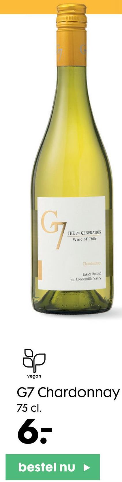 G THE 7. GENERATION Wine of Chile Charlotte Estate Bottled De Loncomilla Valley op vegan G7 Chardonnay 75 cl. 6- bestel nu
