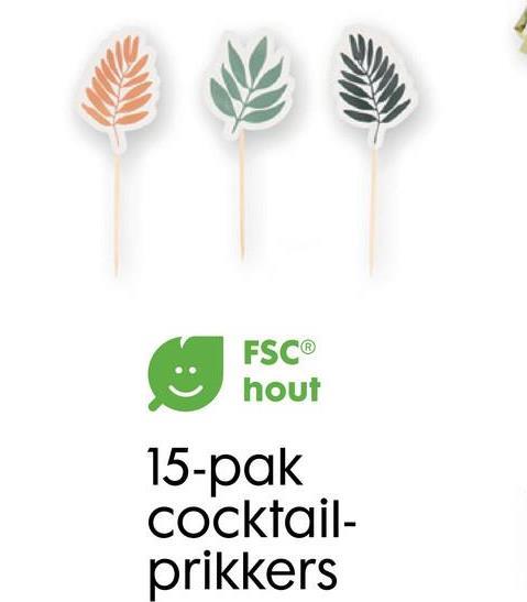 FSC® hout 15-pak cocktail- prikkers