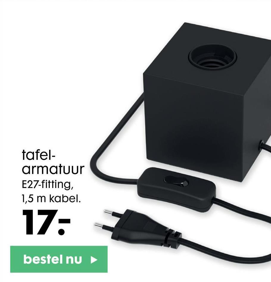 tafel- armatuur E27-fitting, 1,5 m kabel. 17: bestel nu ►