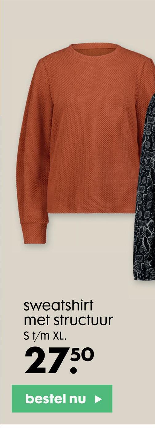sweatshirt met structuur St/m XL. 2750 bestel nu