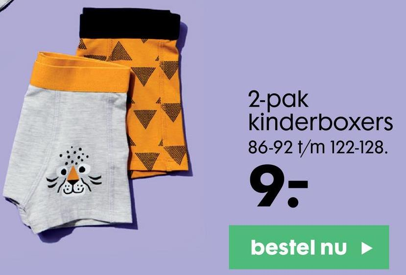 2-pak kinderboxers 86-92 t/m 122-128. 76 9- bestel nu