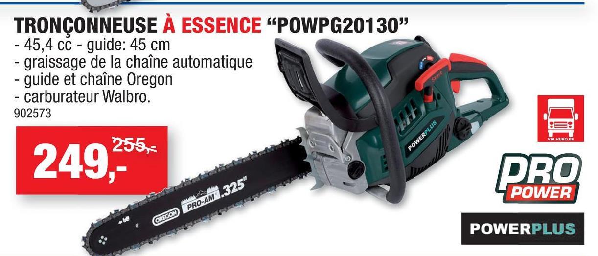 Powerplus Pro Power POWPG20130 tronçonneuse thermique 45,4cc 400mm Avec la tronçonneuse POWPG20130 de Powerplus vous disposez d'une tronçonneuse sans fil puissante offrant une grande facilité d'utilisation. Cette tronçonneuse à essence est équipée d'un moteur 45,4cc à 2 temps, d'une bougie Champion, ainsi que d'un guide-chaîne et d'une chaîne de la marque de qualité Oregon. Le graissage automatique assure un bon fonctionnement et grâce à son système de démarrage rapide la tronçonneuse démarre facilement.Lame de scie de 45cm pour une coupe de branches et de troncs sans effortsPoignée à revêtement soupleFaible rebondGriffe d'abattage comme point d'appuiFonction EasyStartArrêt rapide pour stopper la lame presque immédiatementÉtui de protection pour un rangement popre et sécuriséProtection de la main avec frein automatique