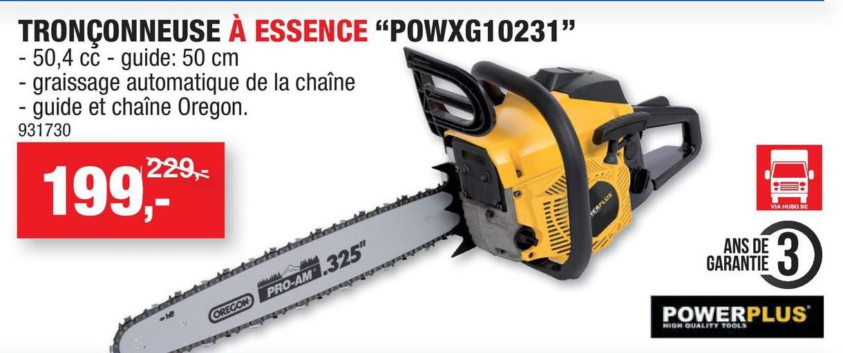 Powerplus X Garden POWXG10231 tronçonneuse thermique 50,4cc 500mm Cette tronçonneuse thermique POWXG10231 avec un moteur 50,4cc à deux temps de Powerplus peut couper des branches plus grandes ou des troncs d'arbres entiers. La tronçonneuse est équipée du système Easy Start et Easy Stop, garantissant un démarrage facile et que le moteur s'arrête en cas d'un rebond. Attendez-vous donc à de réelles performances avec cet outil de jardinage, d'autant que le guide-chaîne est de la marque Oregon. Cette tronçonneuse dotée d'une lame de 50cm permet un travail aisé, d'autant que le graissage de la chaîne automatique rend son utilisation souple et garantit moins d'usure. Le capot de protection des mains protège vos mains des projections de branches et de bois. Malgré ce puissant moteur, vous pouvez néanmoins tenir confortablement la machine Powerplus, car les vibrations sont amorties grâce au système de réduction des vibrations. Système Easy Start et Easy Stop Chaîne de la marque Oregon Lubrification automatique pour réduire considérablement l'usure de la chaîne et garantir un fonctionnement sans encombre Bas niveau de vibration Protection des mains pour un travail sécurisé