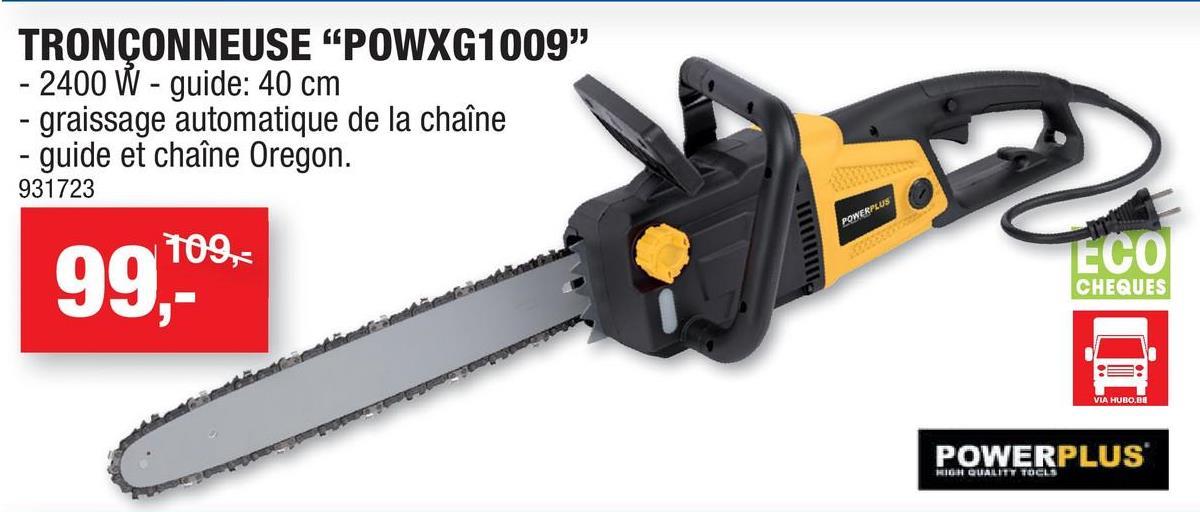 Powerplus X Garden POWXG1009 tronçonneuse électrique 2400W 400mm Cette tronçonneuse électrique POWXG1009 de Powerplus affiche une puissance élevée de 2400W pour scier les troncs et branches plus épais, sans être gêné par les odeurs ou le bruit. Attendez-vous donc à de réelles performances avec cet outil de jardinage, d'autant que le guide-chaîne et la chaîne sont de Oregon.Cette tronçonneuse dotée d'une lame de 40cm permet un travail aisé grâce au graissage de la chaîne automatique qui rend son utilisation souple et limite l'usure. Le rebond de cette tronçonneuse est également réduit au minimum, pour une utilisation confortable. Le capot de protection des mains protège vos mains des projections de branches et de bois, l'arrêt automatique fait en sorte que la chaîne s'arrête en cas de danger imprévu et vous garantit ainsi une sécurité optimale.Guide-chaîne et chaîne de Oregon Lubrification automatique pour réduire considérablement l'usure de la chaîne et garantir un fonctionnement sans encombre Serrage aisé et rapide sans outilFaible rebondProtection des mains avec arrêt automatique pour un travail sécurisé
