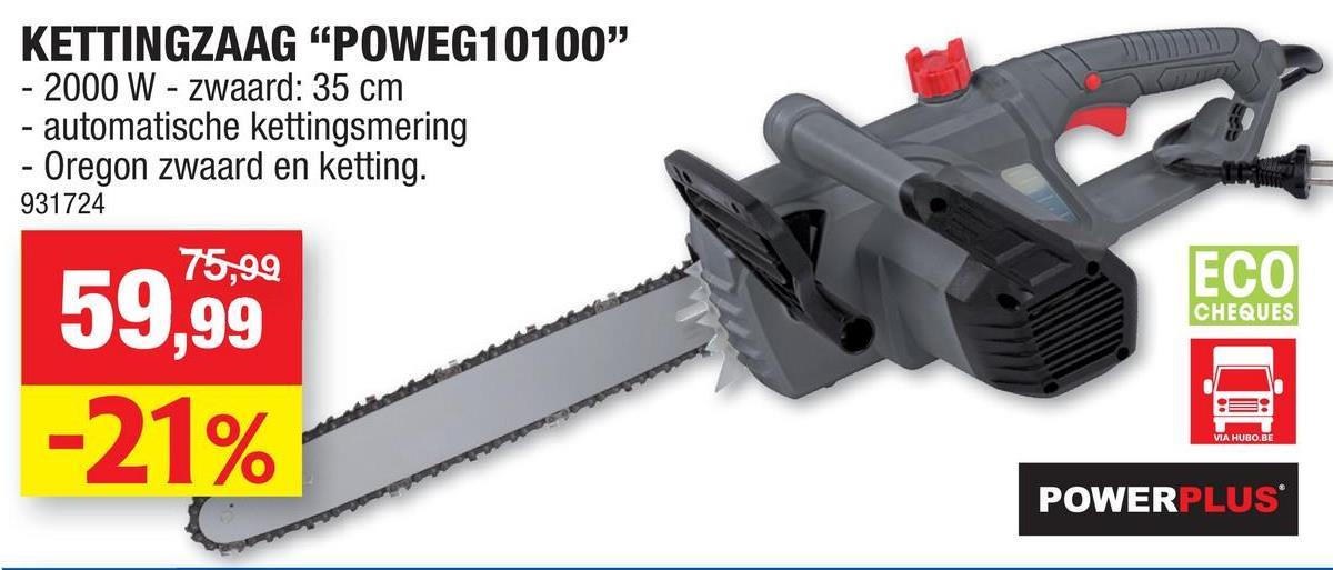 Powerplus EG POWEG10100 elektrische kettingzaag 2000W 350mm Met deze elektrische kettingzaag POWEG10100 van Powerplus met een vermogen van 2000W kan je snel en krachtig boomstammen en takken zagen, eveneens heeft u geen geurhinder en slechts een minimum aan lawaai. Uitgerust met een kwaliteitsvolle Oregon ketting en zwaard en automatisch kettingsmeersysteem, beschik je over een duurzaam toestel waarvan je lang zal genieten. Het is vlot werken met de kettingzaag met een zwaardlengte van 35cm, eens te meer omdat de ketting automatisch gesmeerd wordt voor een soepel gebruik. Ook is bij deze kettingzaag de terugslag tot een minimum beperkt, waardoor het comfortabel werken is. De handbeschermkap vangt rondvliegende takken op, zodat je je handen niet kwetst. Kwaliteitsvolle Oregon zaagketting en zwaard Automatische smering voor verminderde slijtage van de ketting en gegarandeerde vlotte werking Lage terugslag Handbeschermkap met automatische rem voor afdoende bescherming