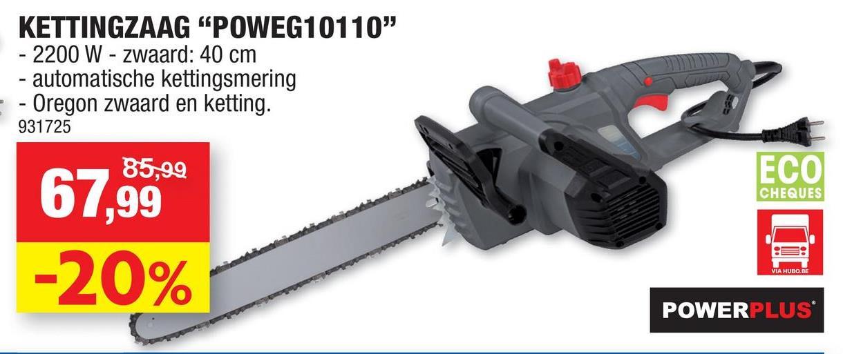 Powerplus EG POWEG10110 elektrische kettingzaag 2200W 400mm Met deze elektrische kettingzaag POWEG10110 van Powerplus met een sterk vermogen van 2200W kan je snel en krachtig brandhout zagen en bomen snoeien, eveneens heeft u geen geurhinder en slechts een minimum aan lawaai. Verwacht je dus aan sterke prestaties, zeker als je weet dat ook het zwaard en de ketting van het kwaliteitsmerk Oregon zijn. Het is vlot werken met de kettingzaag met een zwaardlengte van 40cm, eens te meer omdat de ketting automatisch gesmeerd wordt voor een soepel gebruik en minder slijtage. De ketting kan ook eenvoudig en snel worden gespannen zonder gereedschap. Ook is bij deze kettingzaag de terugslag tot een minimum beperkt, waardoor het comfortabel werken is. De handbeschermkap vangt rondvliegende takken op, zodat je je handen niet kwetst. Kwaliteitsvolle Oregon zaagketting en zwaard Automatische smering voor verminderde slijtage van de ketting en gegarandeerde vlotte werking Eenvoudig en snel te spannen Lage terugslag Handbeschermkap voor afdoende bescherming