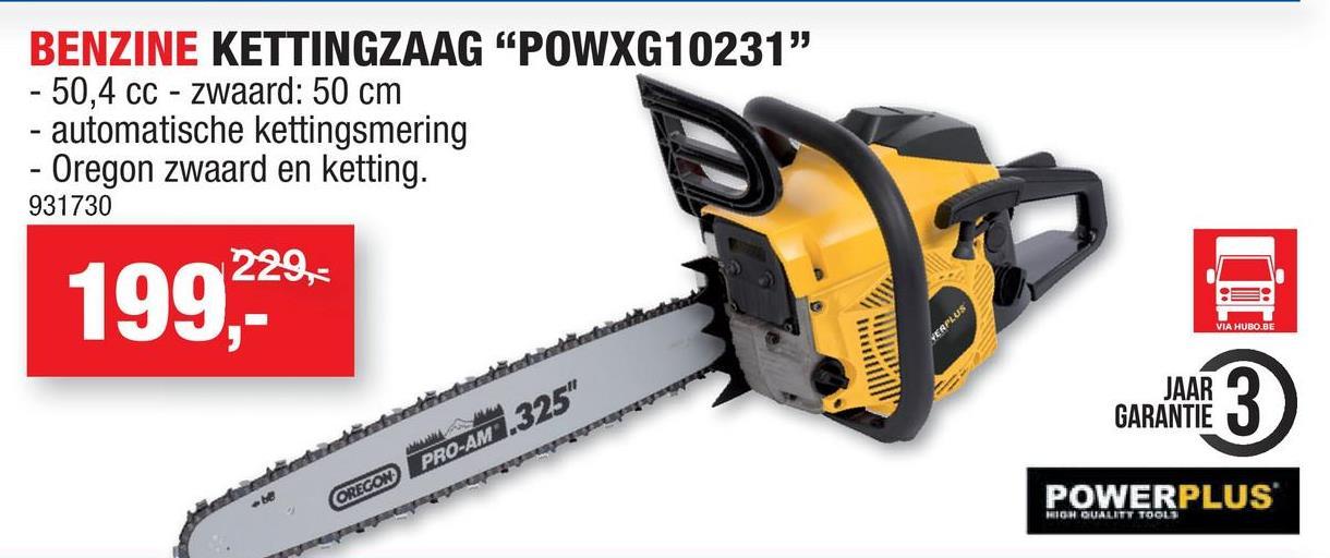 Powerplus X Garden POWXG10231 benzine kettingzaag 50,4cc 500mm Deze benzine kettingzaag POWXG10231 van Powerplus heeft een 2-takt motor van 50,4cc en een bladlengte van 50cm en is geschikt voor het zagen van boomstammen of grotere takken. De kettingzaag is uitgerust met het Easy Start en Easy Stop systeem, zodat je snel kan beginnen en de motor stilvalt van zodra er terugslag plaatsvindt. Uitgerust met een kwaliteitsvolle Oregon ketting en automatisch kettingsmeersysteem, beschik je over een duurzaam toestel waarvan je lang zal genieten. Doordat de ketting automatisch gesmeerd wordt, zorgt dit voor een soepel gebruik en minder slijtage. De handbeschermkap vangt rondvliegende takken op, zodat je je handen niet kwetst. Hij is ondanks de krachtige motor comfortabel in gebruik, dankzij de trillingsreductie. Easy Start en Easy Stop systeem Kwaliteitsvolle Oregon zaagketting Automatische smering voor verminderde slijtage van de ketting en gegarandeerde vlotte werking Laag trillingsniveau Handbeschermkap voor afdoende bescherming