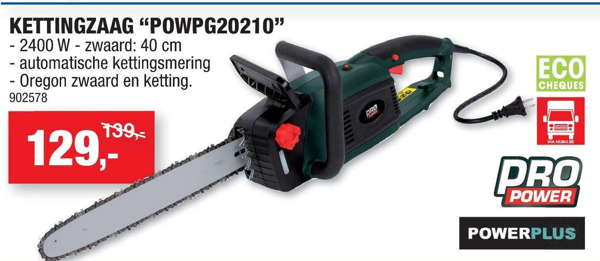 Powerplus Pro Power POWPG20210 kettingzaag 2400W 400mm Met de POWPG20210 kettingzaag van Powerplus pak je al je snoei- en zaagklussen krachtig en snel aan! De zaag is ideaal voor het doorsnijden van balken, het zagen van brandhout en het snoeien van bomen. Naast een topvermogen van 2400W en een lang zaagblad van 40cm is de zaag ook voorzien van een kwaliteitsvolle Oregon zaagketting en zwaard.Lage terugslagSnelstopOverbelastingsbeveiligingAutomatisch kettingsmeersysteem voor een soepel gebruikSpansysteem zonder gereedschapZachte handgreep voor meer comfortHandbeschermkap met automatische rem voor meer veiligheidBeschermkoker voor veilig opbergen