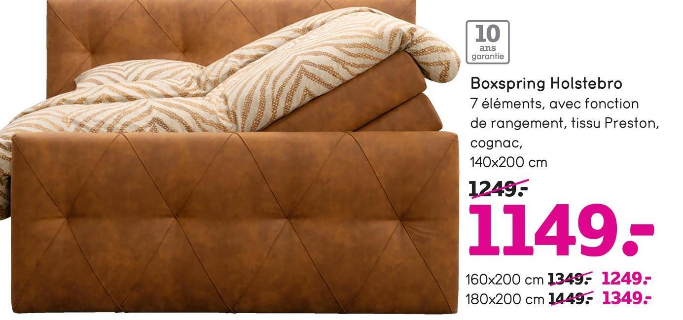 10 ans garantie Boxspring Holstebro 7 éléments, avec fonction de rangement, tissu Preston, cognac, 140x200 cm 1249: 1149. 160x200 cm 1349: 1249- 180x200 cm 1449: 1349-
