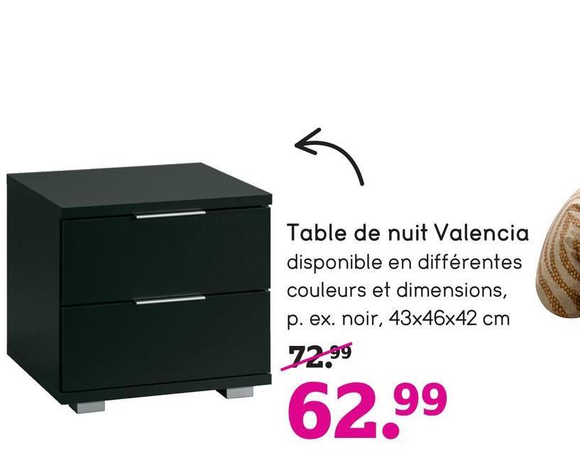 Table de nuit Valencia disponible en différentes couleurs et dimensions, p. ex. noir, 43x46x42 cm 72.99 62.99