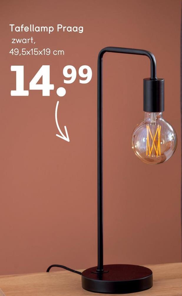 Tafellamp Praag zwart, 49,5x15x19 cm 14.99