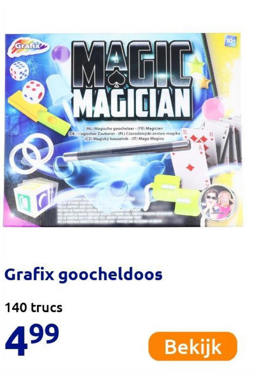 10 Grafix MAGIC MAGICIAN (NL) Magische goochelaar - (PRMagicien DE agischer Zauberer (PL) Czarodziejski zestaw magika W CZ) Magicky kouzelnik - IT Mago Magico ODERNE SIVAMO NAMA TNT BYTY PROFILE WE WANDAMINE Grafix goocheldoos 140 trucs 499 Bekijk