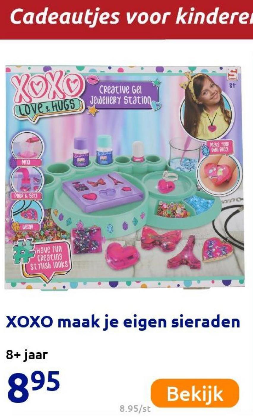 Cadeautjes voor kindere 8+ XOXO Creative Gel love . HUGS Jewellery Station Make WR 000 Ring MIXI POUR . Sell Wear! Have fun creating stylish 100KS XOXO maak je eigen sieraden 8+ jaar 895 Bekijk 8.95/st