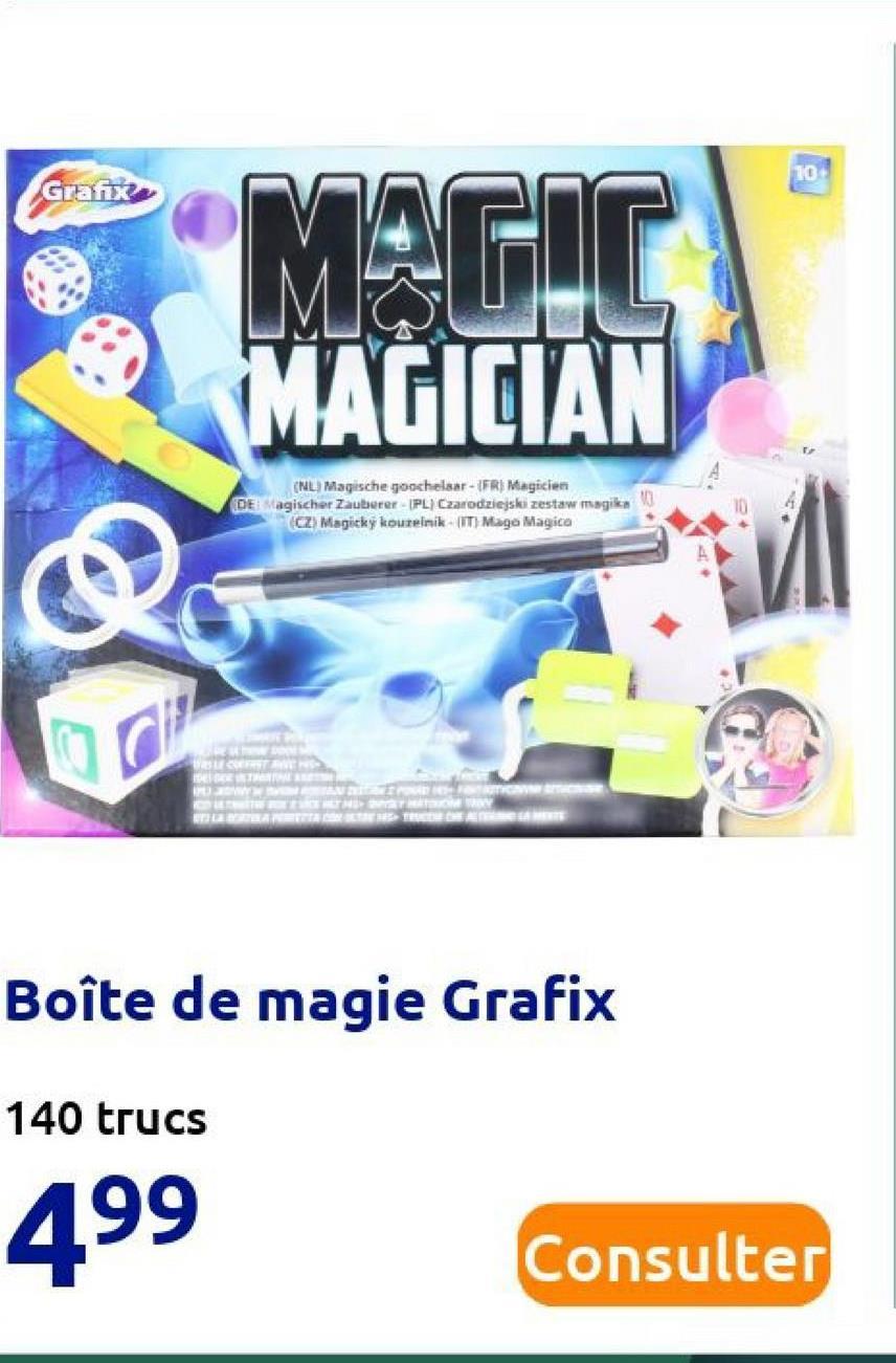 10 Grants MAGIC MAGICIAN (NL. Magische goochelaar - (FR) Magicien DE agischer Zauberer IPL Czarodziejski zestaw magikn (CZ) Magicky kouseinik (IT) Maga Magica tau INUWENT DE RENNTRY மயானமாகனகா வாயை Boîte de magie Grafix 140 trucs 499 Consulter