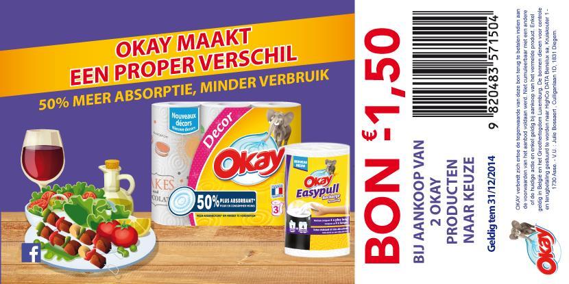 Okay Bon -1,50€ bij aankoop van 2 producten