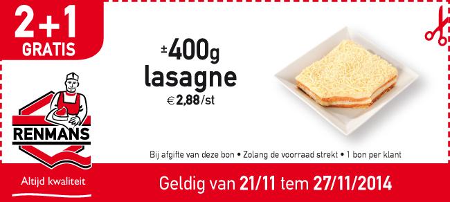 400g lasagne 2+1 gratis
