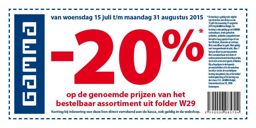 -20% bij Gamma