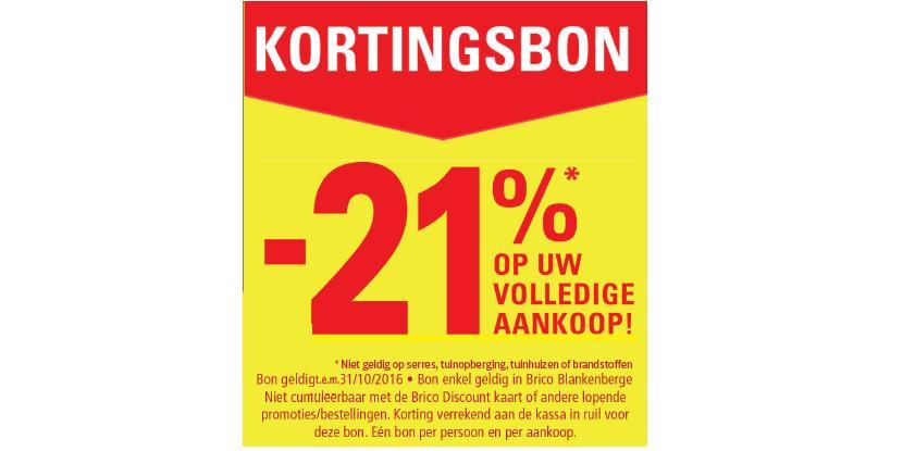 21% korting bij Brico Blankenberge